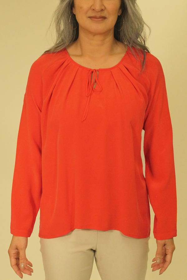 French Made Silk Peasant Blouse