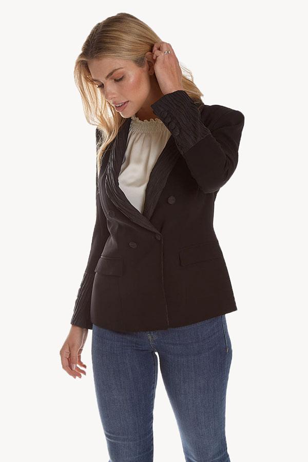 Shawl Collar Jacket in Crepe Fabric