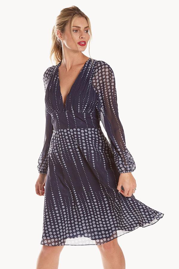 women's georgette flowing polka dot dress