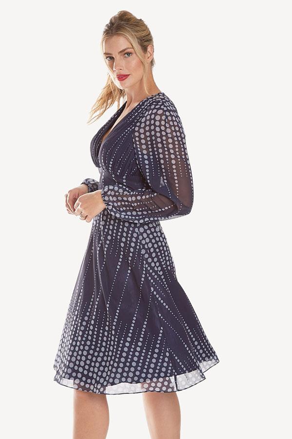 women's georgette flowing polka dot dress side view