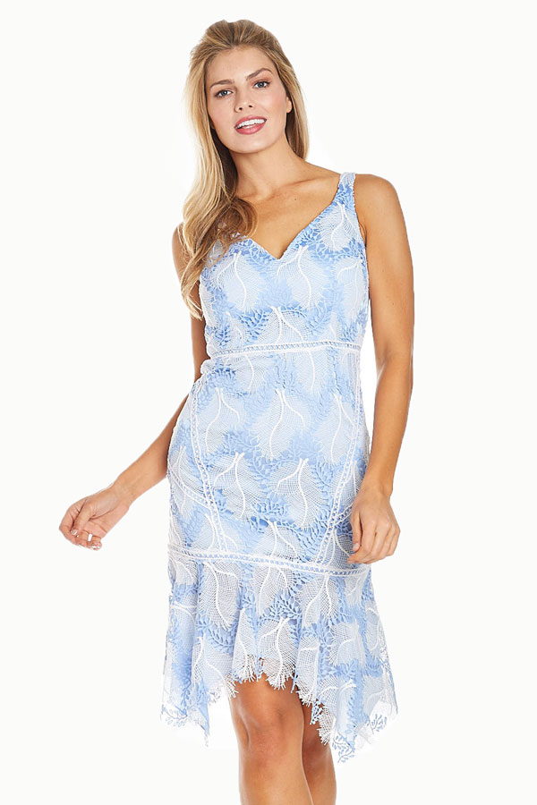 women's baby blue embroidered lacy sundress front