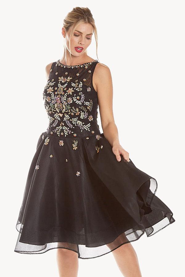 embellished tea length frock dress front