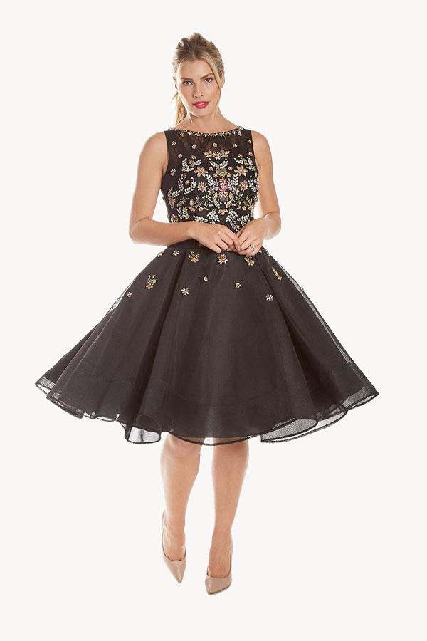 Embellished Tea Length Frock Dress