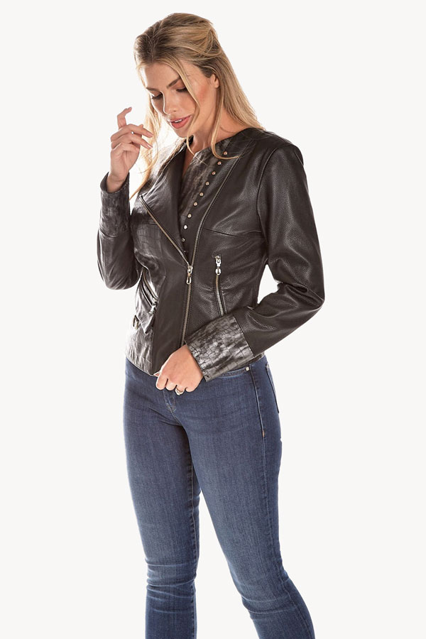 Italian Design Croc Print Leather Moto Jacket