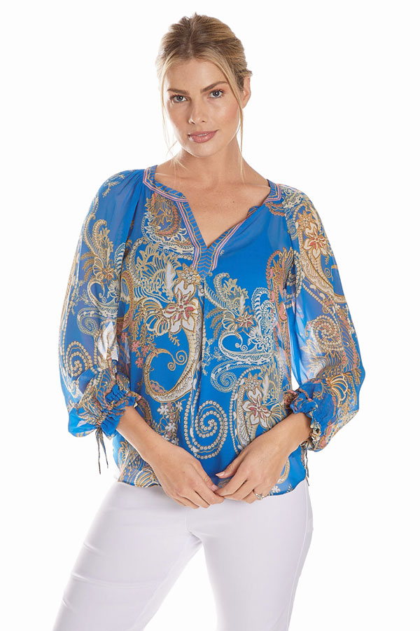 women's silk paisley blouse front