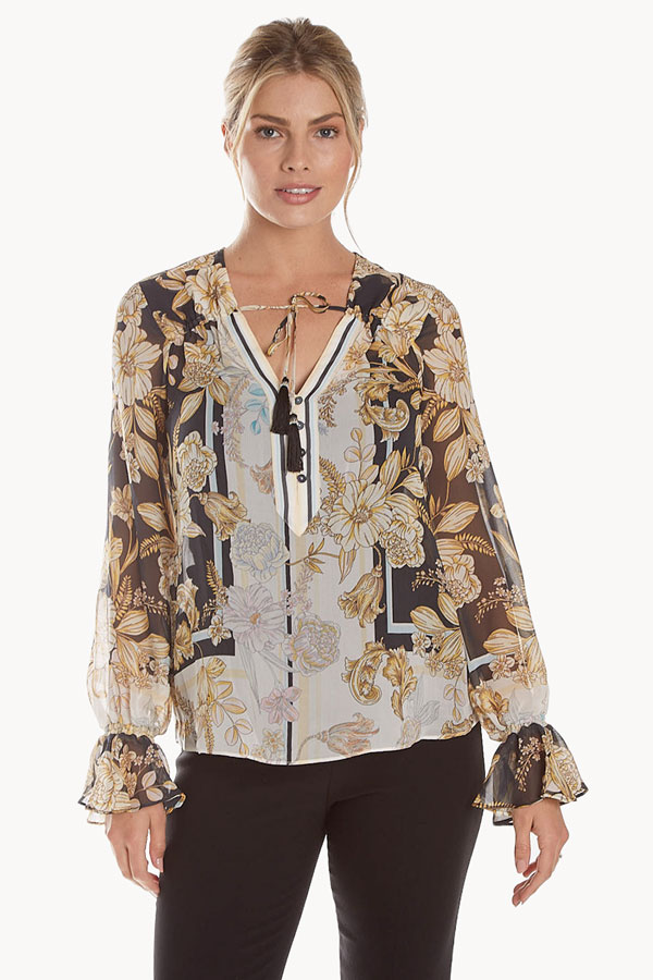 women's silk flutter cuff blouse