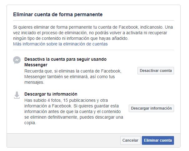 Eliminar perfiles sociales de Facebook