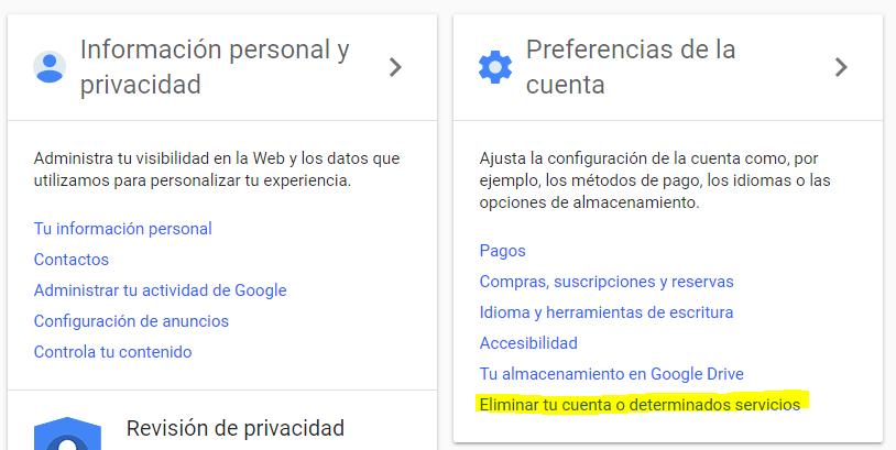 Eliminar perfiles sociales de Gmail
