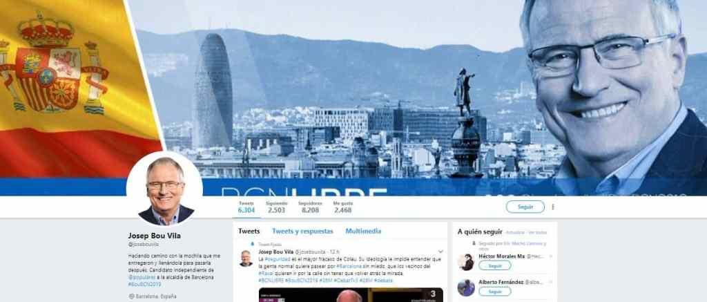 Pantallazo cuenta de Twitter de Josep Bou