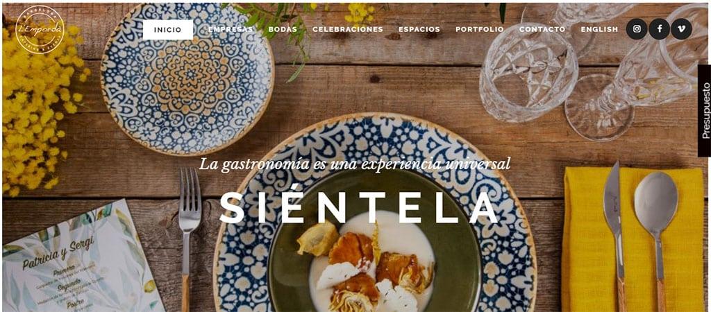 Captura de pantalla de la web de Catering l'Empordà