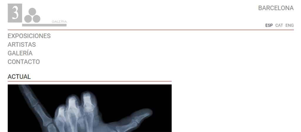 Captura de pantalla de la web de la Galería 3 punts