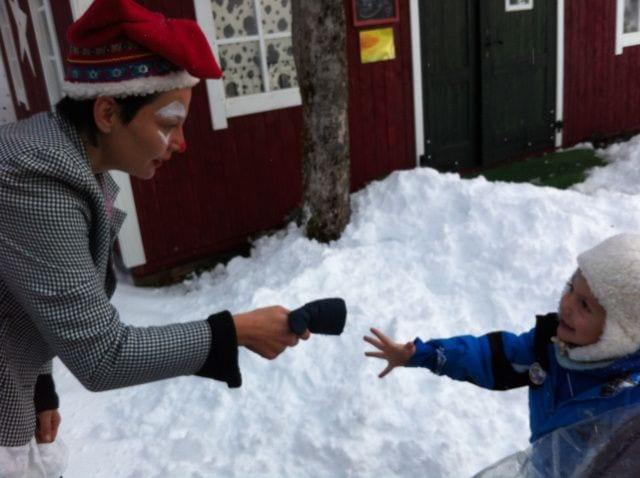 Visita a Papá Noel con niños
