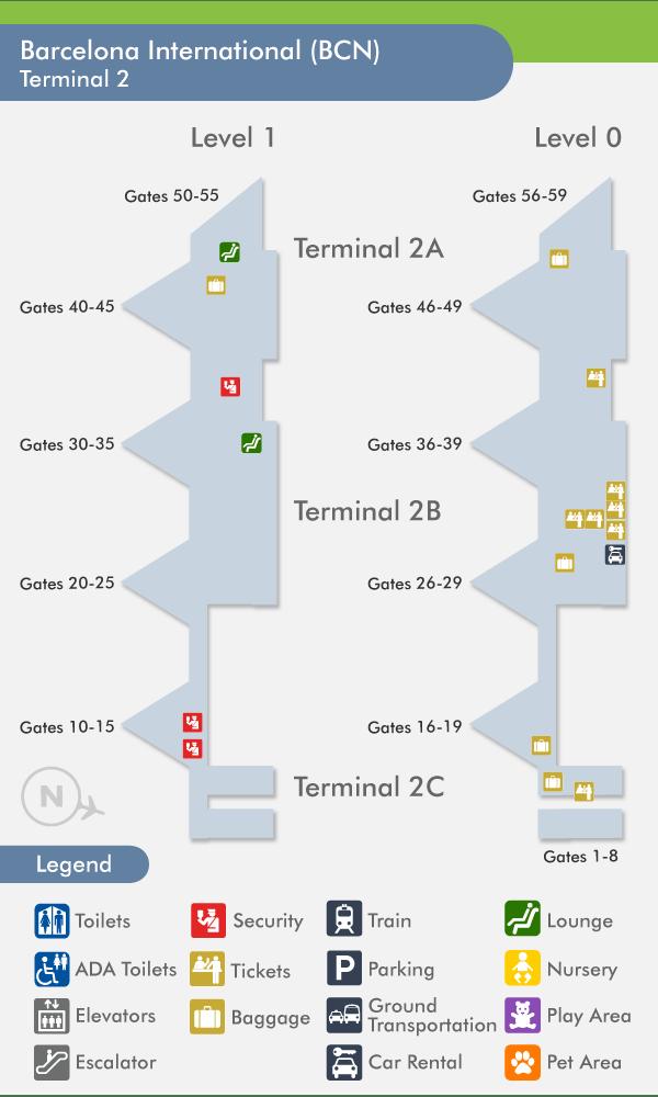 Airport El Prat BCN Terminal 1 T1 and Terminal 2 T2