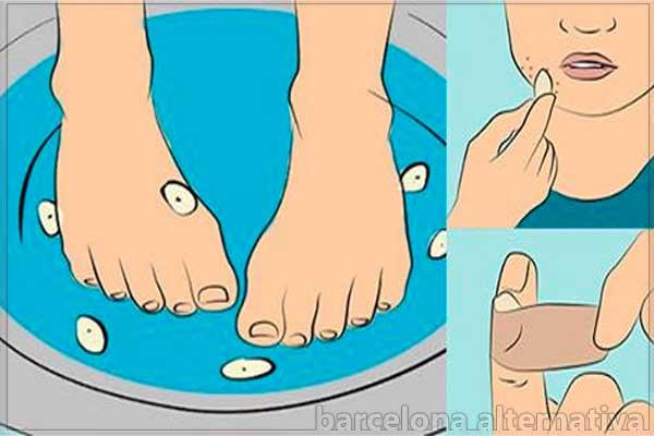 pies en agua con ajo