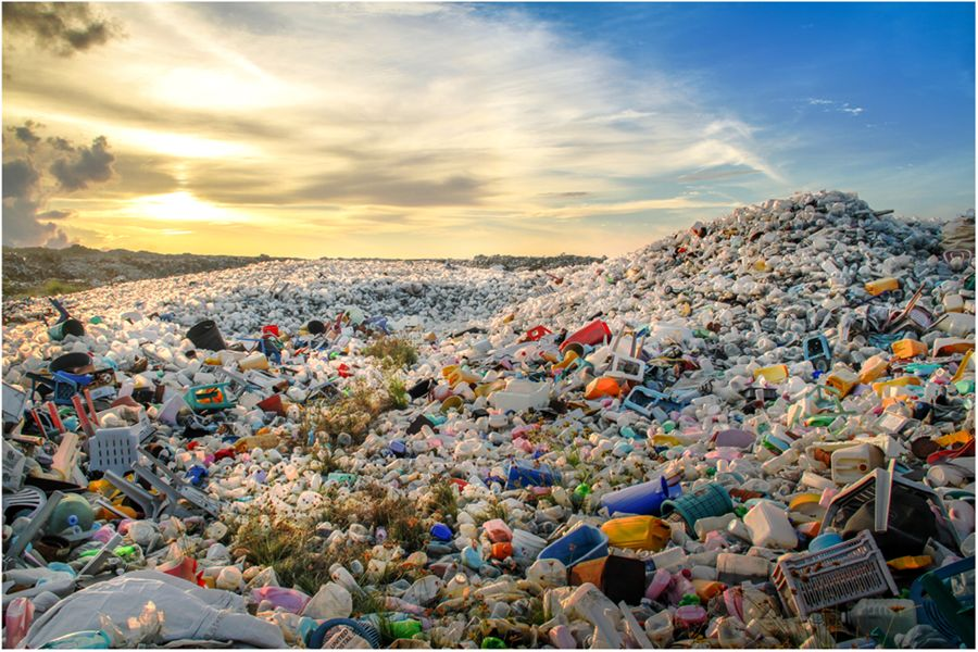 landfill with plastic