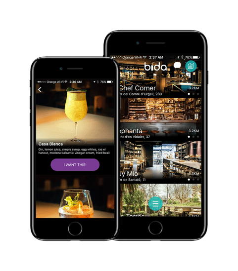 Bida app on iphone – A Barcelona Startup That Wants to Buy You a Drink