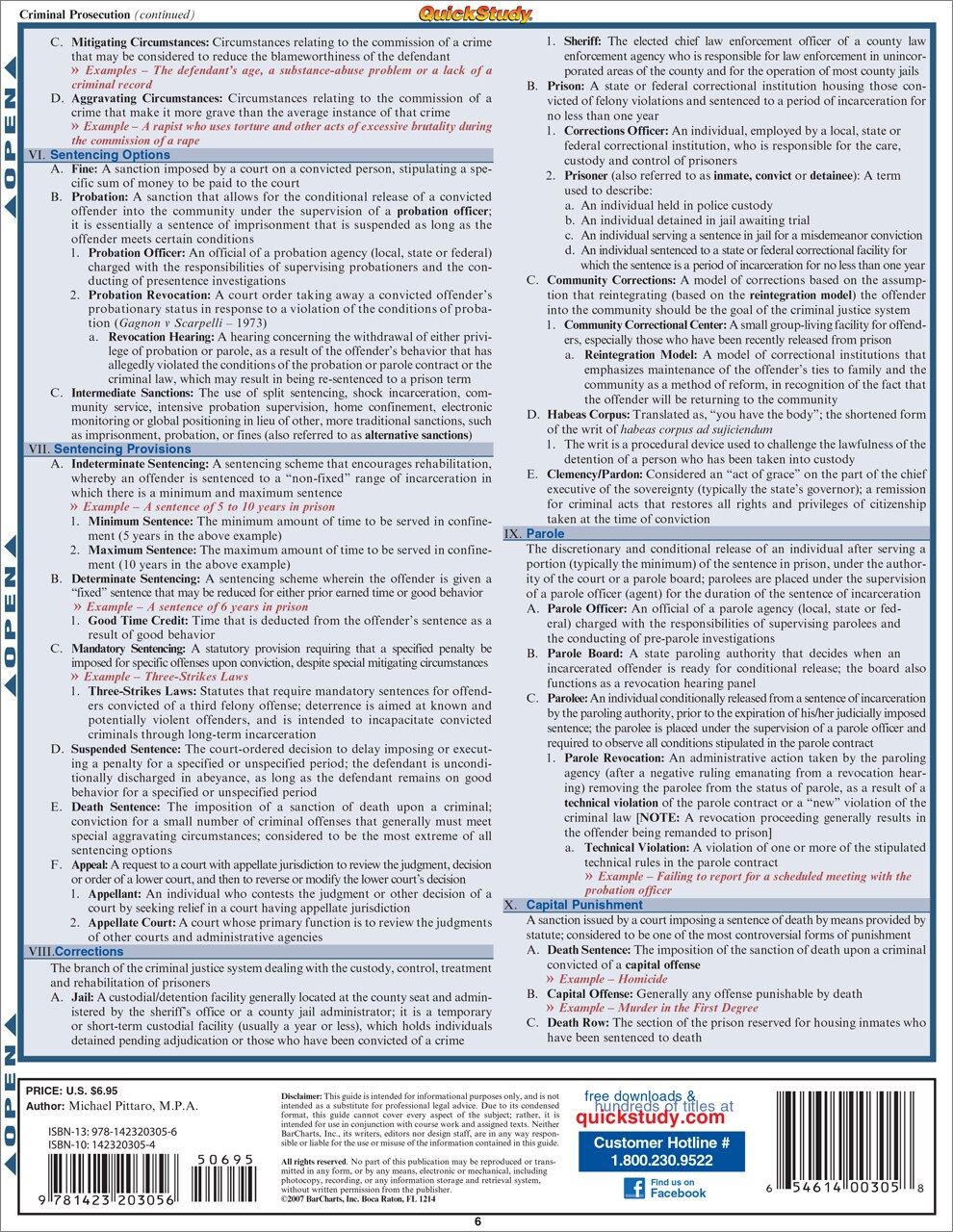 Quick Study QuickStudy Criminal Justice Laminated Reference Guide BarCharts Publishing Study Guide Back Image
