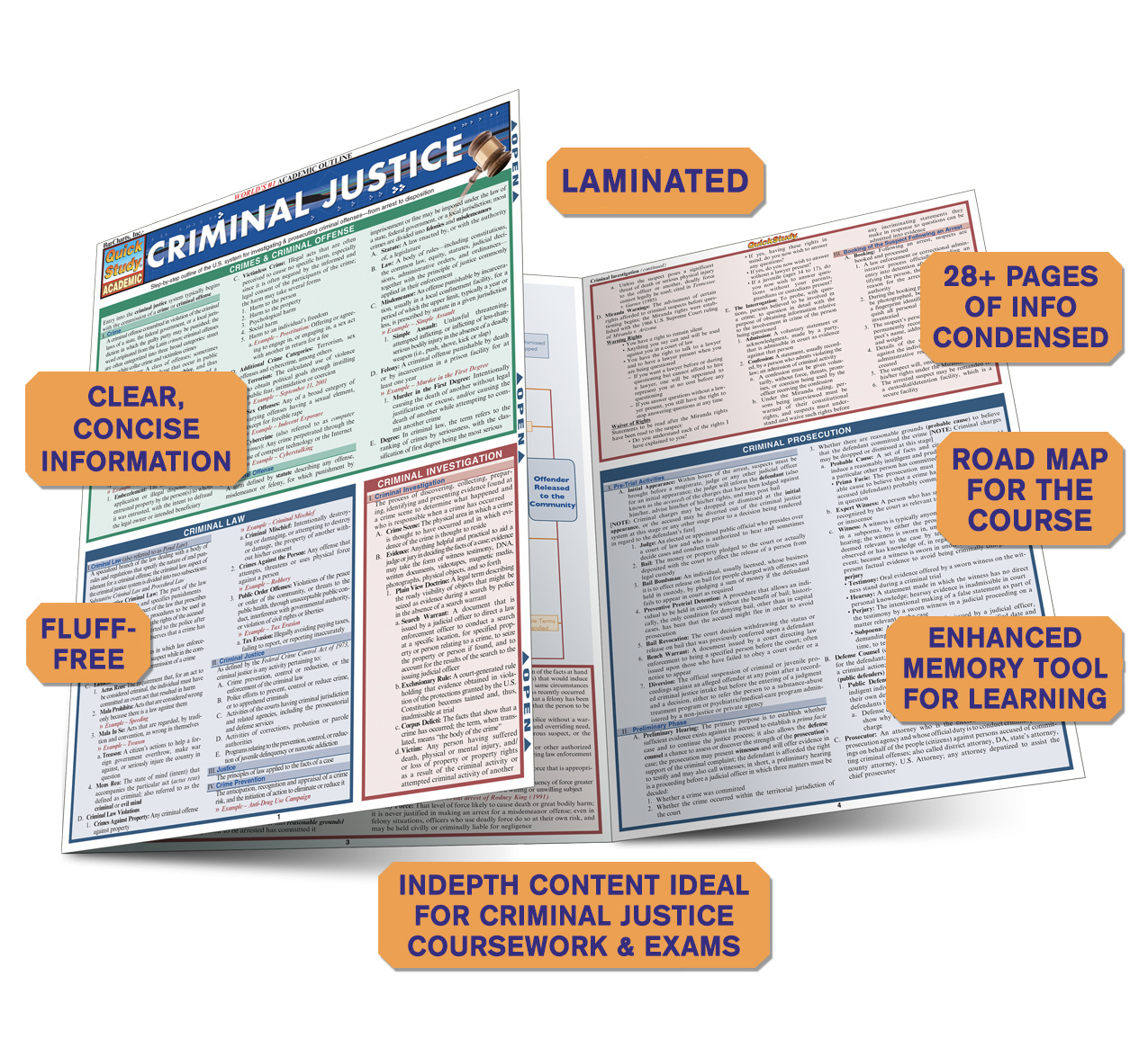 Quick Study QuickStudy Criminal Justice Laminated Reference Guide BarCharts Publishing Study Guide Benefits