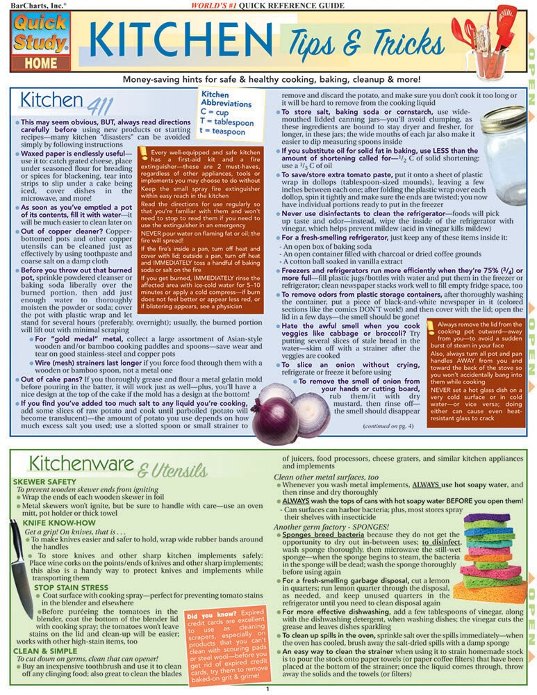 Quick Study QuickStudy Kitchen Tips & Tricks Laminated Reference Guide BarCharts Publishing Home Lifestyle Outline Cover Image