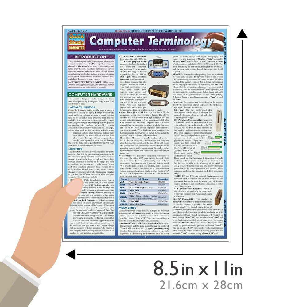 Quick Study QuickStudy Computer Terminology Laminated Study Guide BarCharts Publishing Tech Guide Size