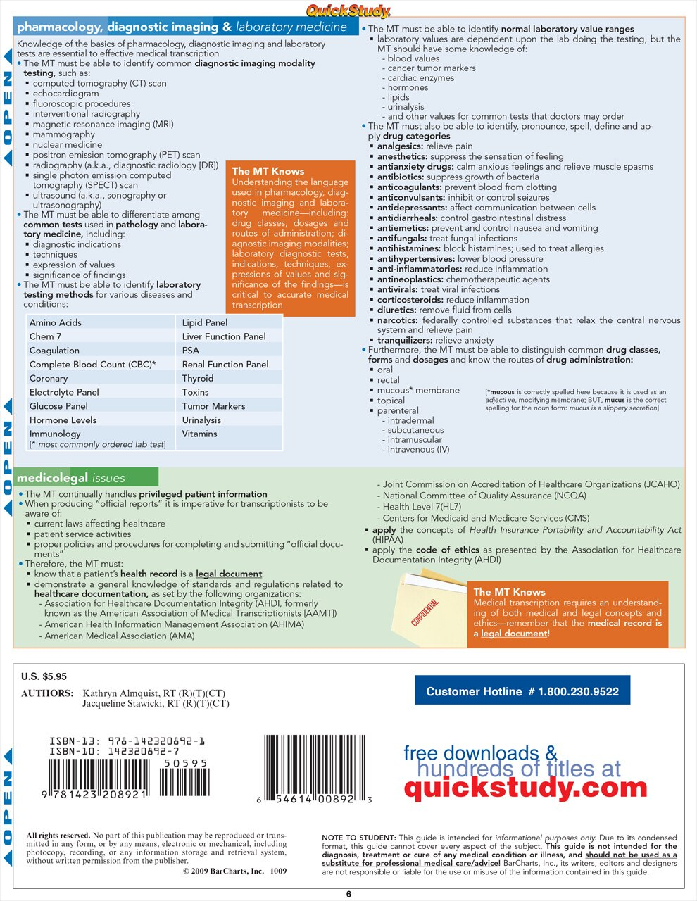 Quick Study QuickStudy Medical Transcription Laminated Reference Guide BarCharts Publishing Medical Guide Back Image