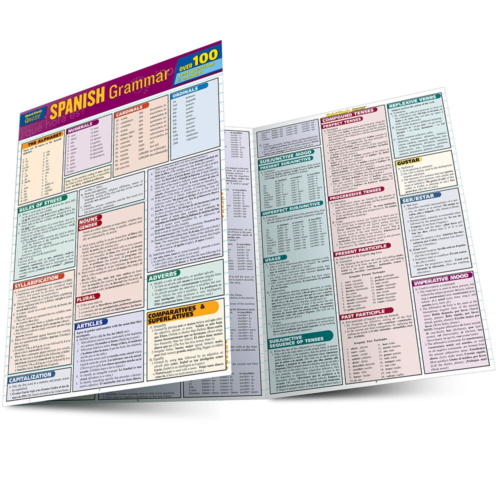 Quick Study QuickStudy Spanish Grammar Quizzer Laminated Study Guide BarCharts Publishing Inc Guide Main Image