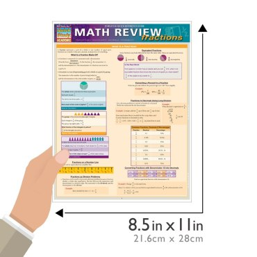 Quick Study QuickStudy Math Review: Fractions Laminated Study Guide BarCharts Publishing Math Guide Size