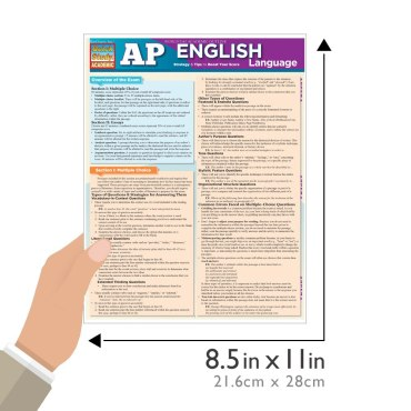 Quick Study QuickStudy AP English Language Laminated Study Guide BarCharts Publishing Inc Reference Guide Size