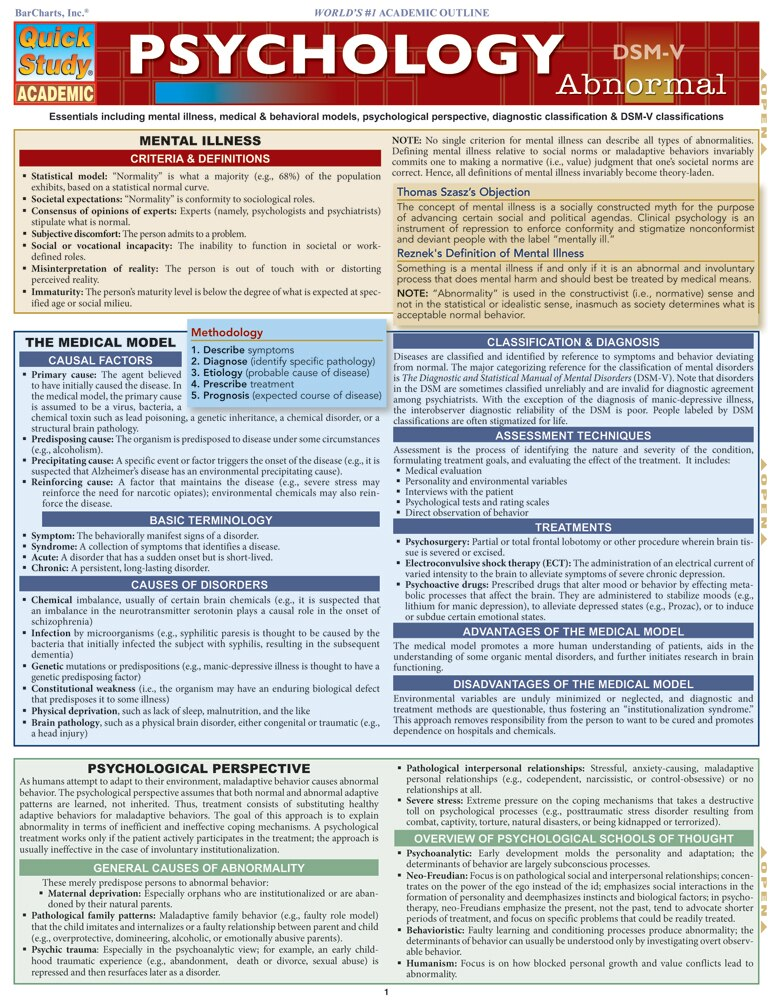 Quick Study QuickStudy Psychology Abnormal Laminated Study Guide BarCharts Publishing Social Science Cover Image