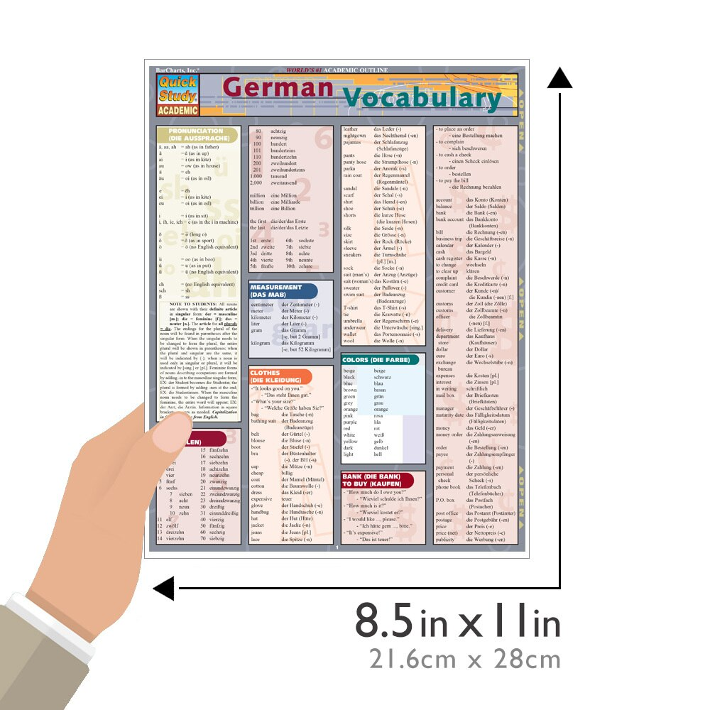 Quick Study QuickStudy German Vocabulary Laminated Study Guide BarCharts Publishing German Language Size