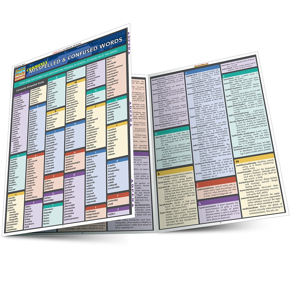 Quick Study QuickStudy Commonly Misspelled Confused Words Laminated Study Guide BarCharts Publishing Main Image