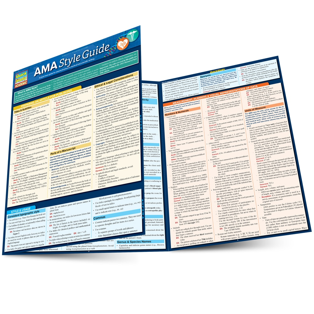Quick Study QuickStudy AMA Style Guide Laminated Study Guide BarCharts Publishing AMA Style Guide Main Image