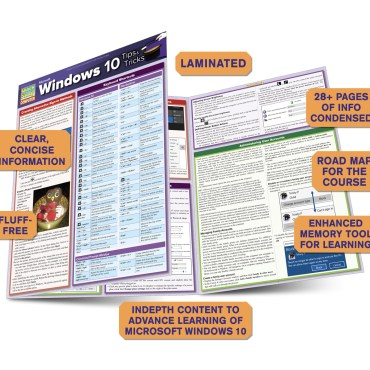 Quick Study QuickStudy Microsoft Windows 10: Tips & Tricks Laminated Reference Guide BarCharts Publishing Computer Software Guide Benefits