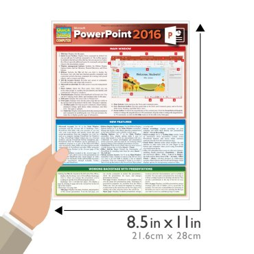 Quick Study QuickStudy Microsoft Powerpoint 2016 Laminated Reference Guide BarCharts Publishing Business Productivity Software Outline Guide Size
