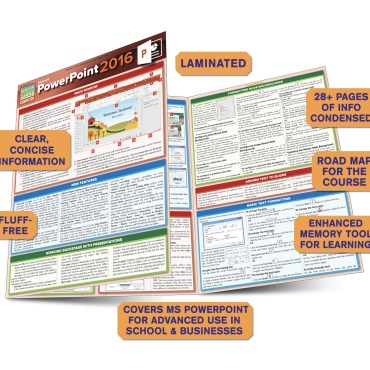 Quick Study QuickStudy Microsoft Powerpoint 2016 Laminated Reference Guide BarCharts Publishing Business Productivity Software Outline Guide Benefits