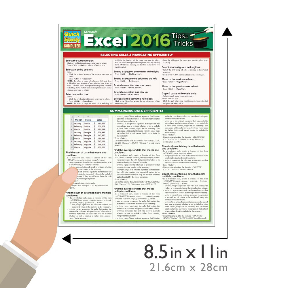 Quick Study QuickStudy Microsoft Excel 2016: Tips & Tricks Laminated Reference Guide BarCharts Publishing Business Software Reference Guide Size