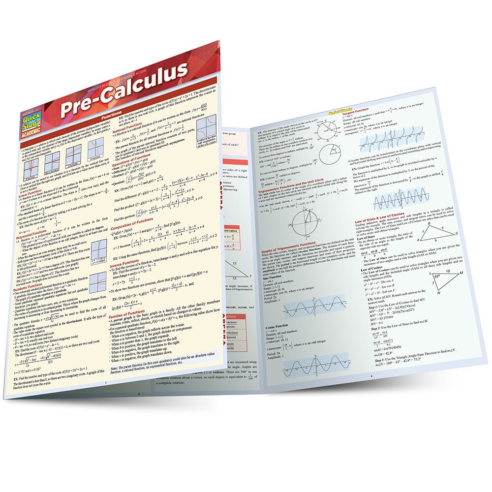 QuickStudy Quick Study Pre-Calculus Laminated Study Guide BarCharts Publishing Math Reference Guide Main Image