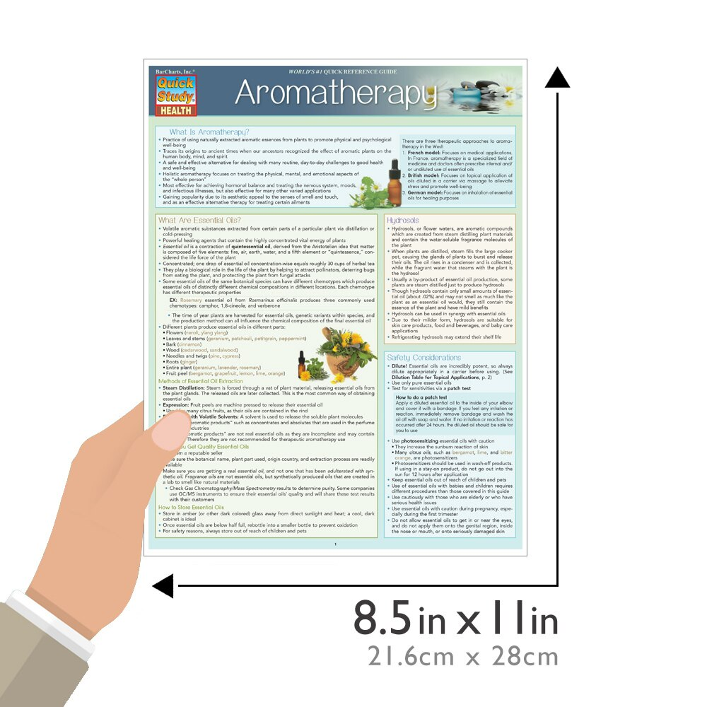 Quick Study QuickStudy Aromatherapy Laminated Reference Guide BarCharts Publishing Alternative Health Outline Guide Size