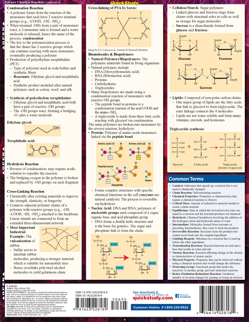 QuickStudy Quick Study Organic Chemistry Reactions Laminated Study Guide BarCharts Publishing Back Image