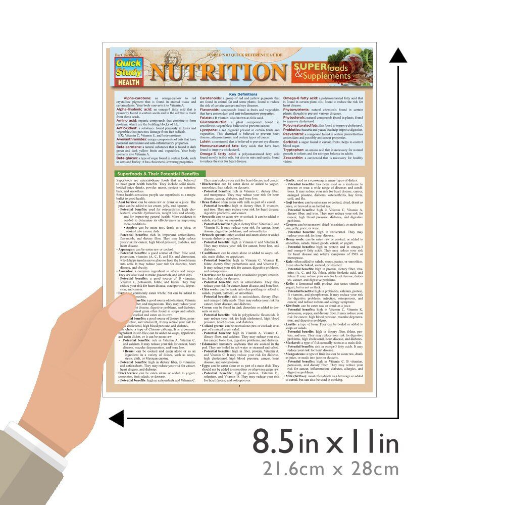 Quick Study QuickStudy Nutrition: Superfoods & Supplements Laminated Reference Guide BarCharts Publishing Health & Medical Reference Guide Size
