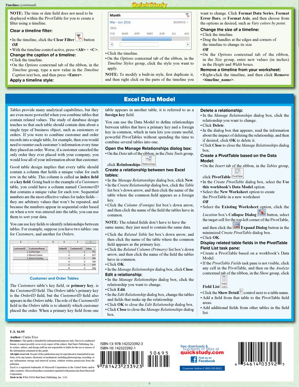 Quick Study QuickStudy Excel 2016 Advanced Laminated Reference Guide BarCharts Publishing Business Software Reference Back Image