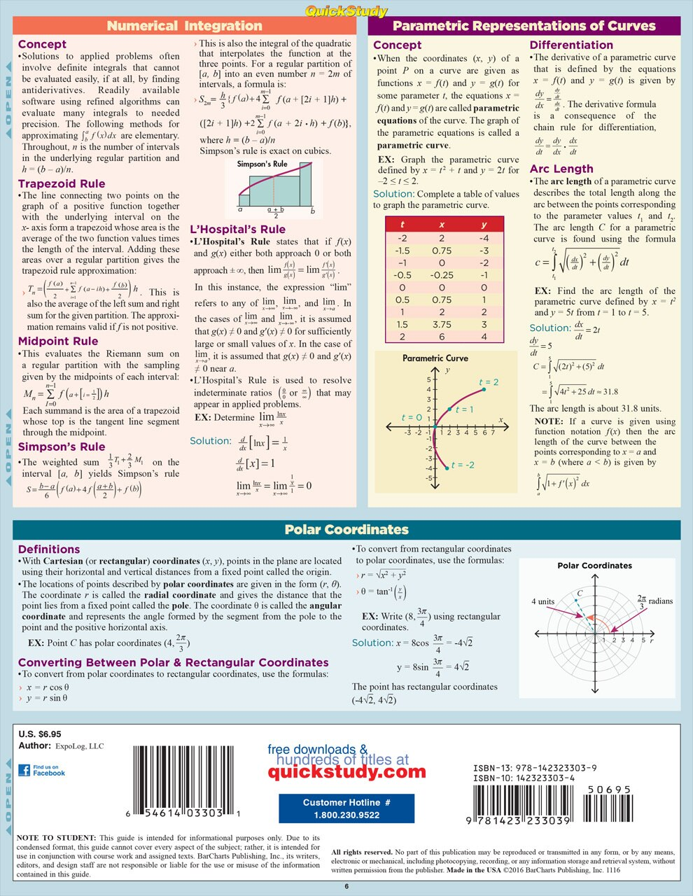 QuickStudy Quick Study Calculus 2 Laminated Study Guide BarCharts Publishing Math Reference Guide Back Image