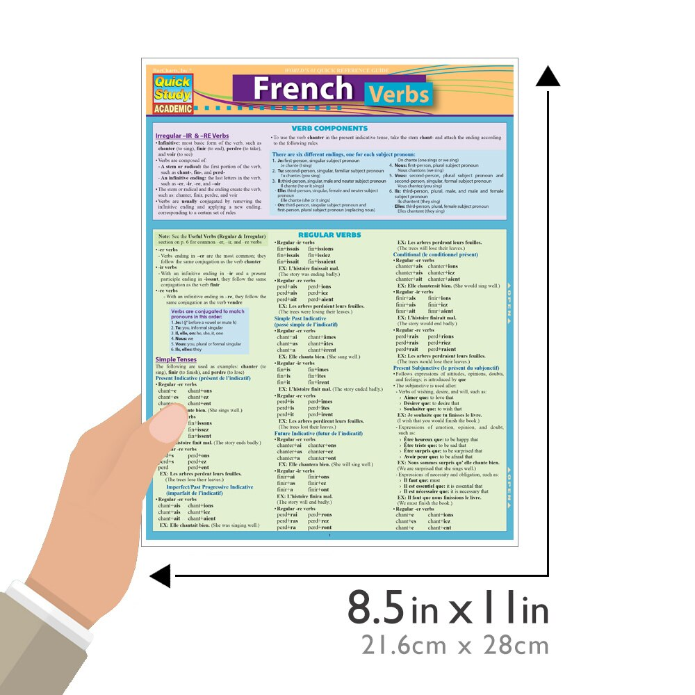 Quick Study QuickStudy French Verbs Laminated Study Guide BarCharts Publishing Foreign Languages Size