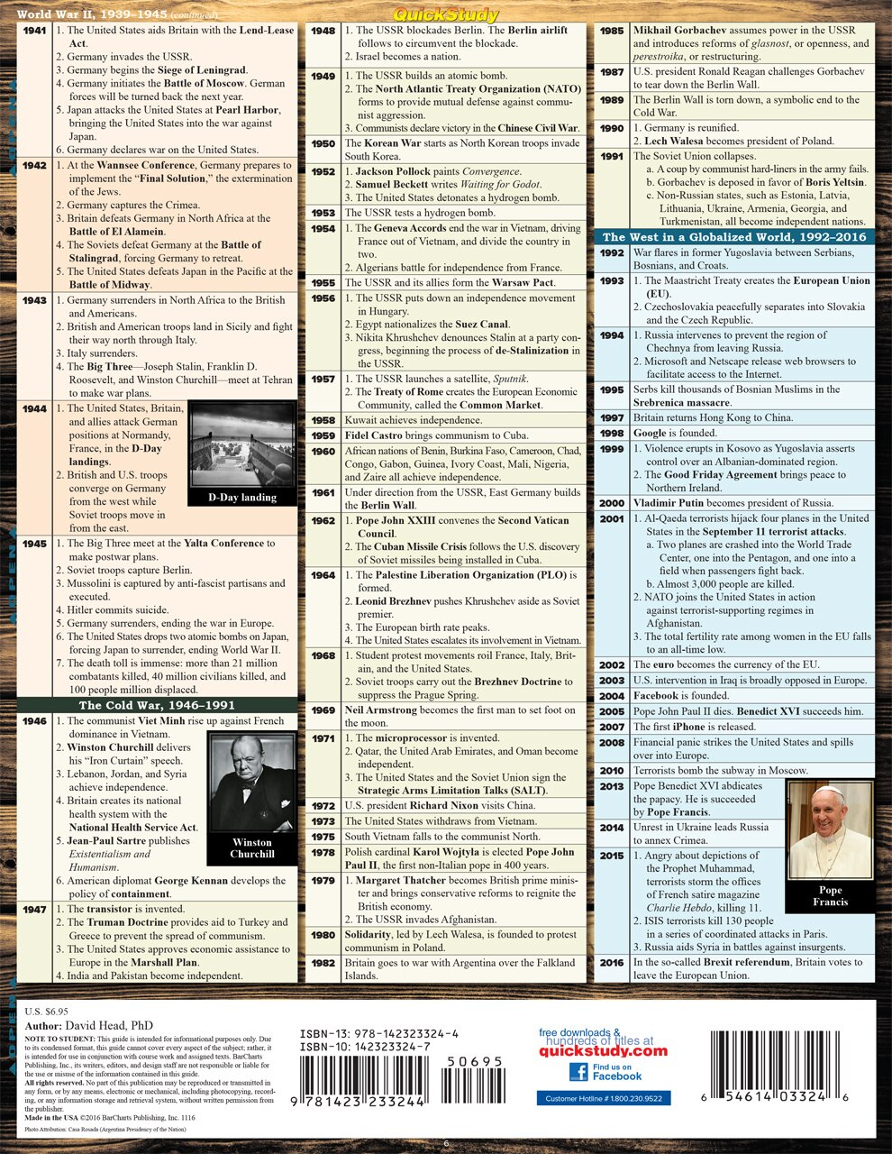 Quick Study QuickStudy Western Civilization 2 Laminated Study Guide BarCharts Publishing Inc Guide Back Image