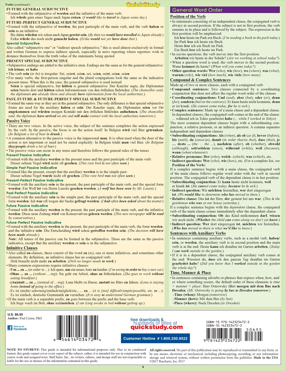 QuickStudy Quick Study German Grammar Laminated Study Guide BarCharts Publishing Foreign Languages Back Image