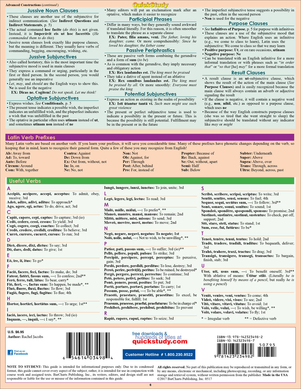 Quick Study QuickStudy Latin Verbs Laminated Study Guide BarCharts Publishing Foreign Language Guide Back Image