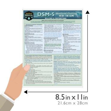 Quick Study QuickStudy DSM-5: Medical Coding Laminated Study Guide BarCharts Publishing Medical Reference Guide Size