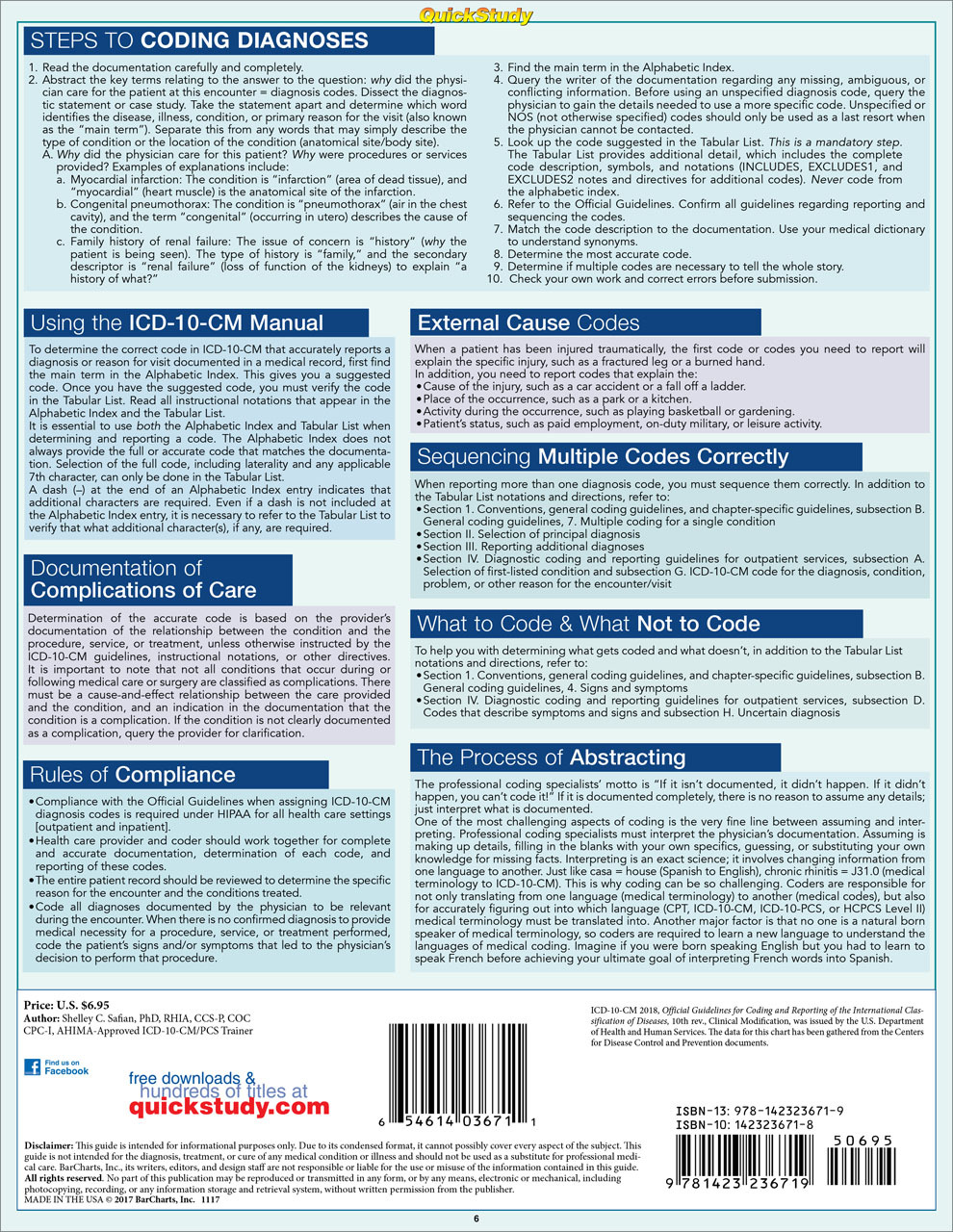 Quick Study QuickStudy Medical Coding ICD-10-CM Laminated Reference Guide BarCharts Publishing Medical Career Outline Back Image