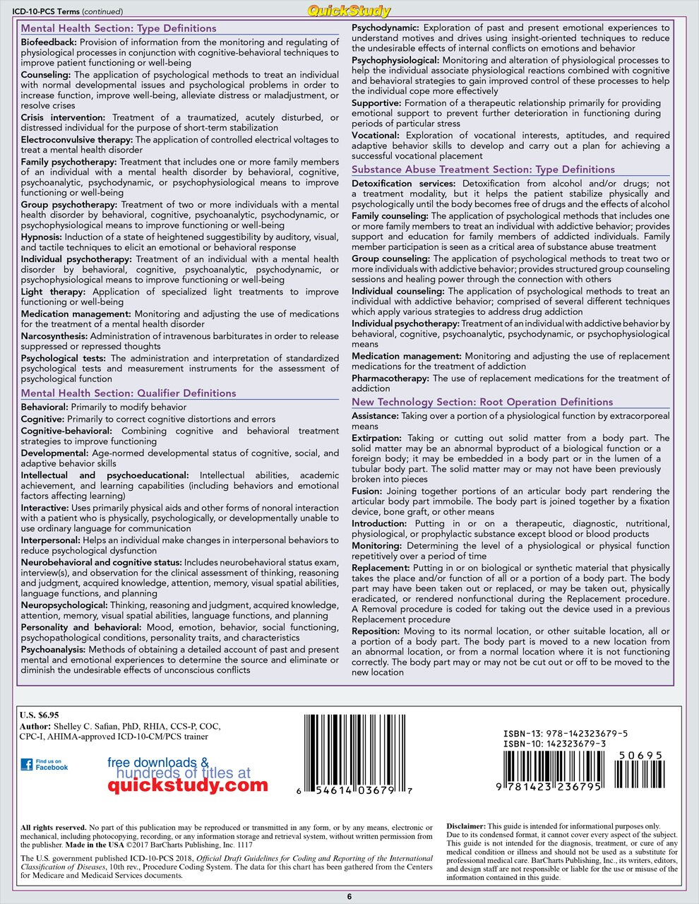 Quick Study QuickStudy Medical Coding ICD-10-PCS Laminated Reference BarCharts Publishing Medical Coding Reference Guide Back Image