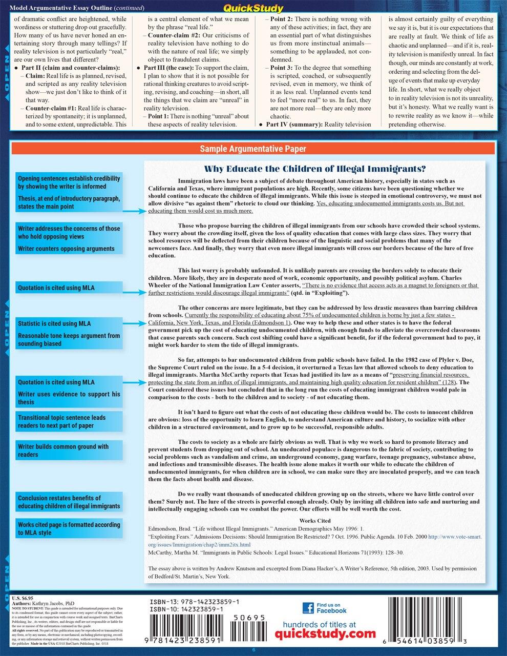 Quick Study QuickStudy Argumentative Essay Laminated Study Guide BarCharts Publishing Language Arts Reference Back Image